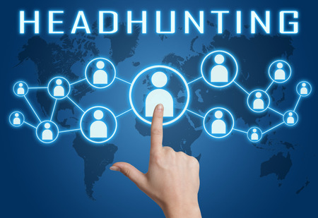 Headhunting concept with hand pressing social icons on blue world map background. photo