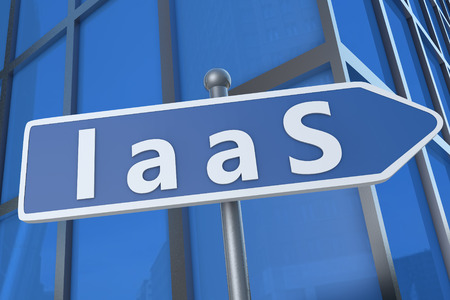 IaaS - Infrastructure as a Service - illustration with street sign in front of office building. illustration