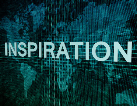 Inspiration text concept on green digital world map background  photo