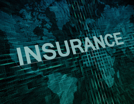 Insurance text concept on green digital world map background  photo