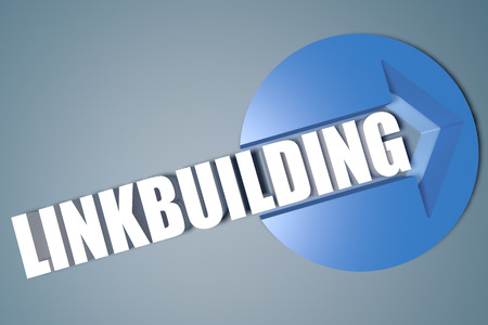 linkbuilding: Linkbuilding - 3d text render illustration concept with a arrow in a circle on blue-grey background Stock Photo