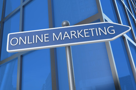 Online Marketing - illustration with street sign in front of office building. illustration