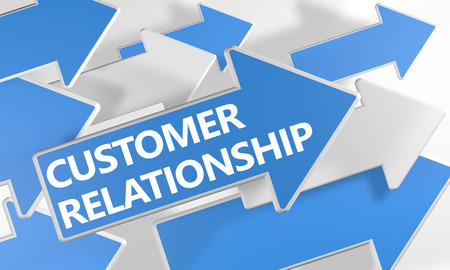 Customer Relationship 3d render concept with blue and white arrows flying over a white background. photo