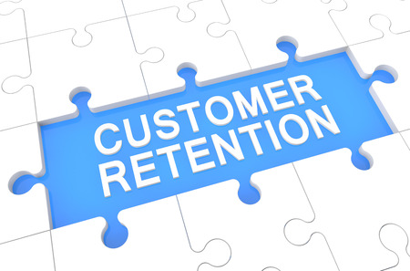 Customer Retention - puzzle 3d render illustration with word on blue background illustration