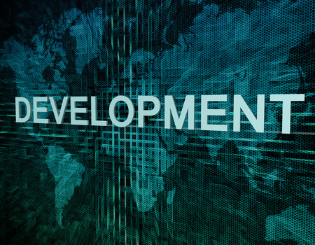 Development text concept on green digital world map background photo