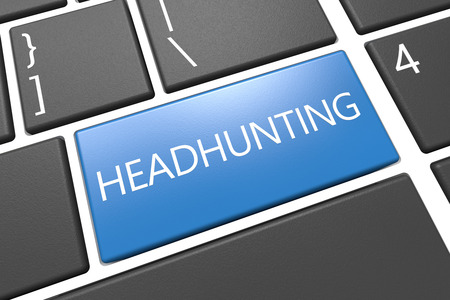 Headhunting - keyboard 3d render illustration with word on blue key illustration