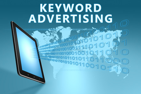to keyword: Keyword Advertising illustration with tablet computer on blue background