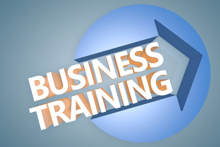 Business Training - 3d text render illustration concept with a arrow in a circle on blue-grey background illustration