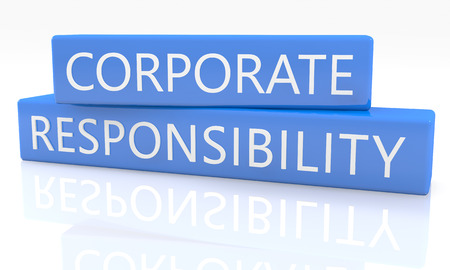 3d render blue box with text Corporate Responsibility on it on white background with reflection photo