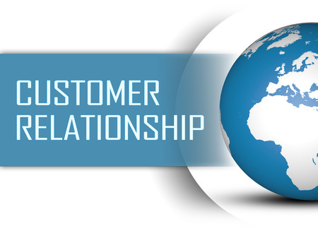 Customer Relationship concept with globe on white background photo