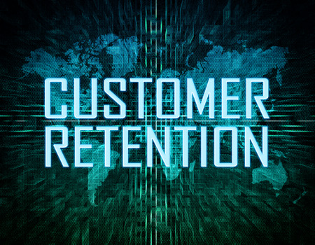 Customer Retention text concept on green digital world map background photo