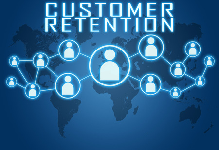 Customer Retention concept on blue background with world map and social icons. photo