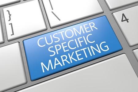 Customer Specific Marketing - keyboard 3d render illustration with word on blue key illustration