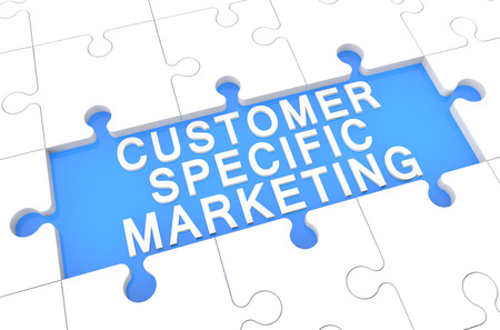 Customer Specific Marketing - puzzle 3d render illustration with word on blue background illustration
