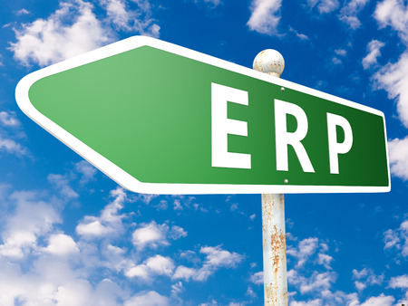 ERP - Enterprise Resource Planning - street sign illustration in front of blue sky with clouds. illustration