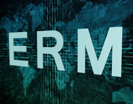 ERM - Enterprise Risk Resource Management text concept on green digital world map background photo