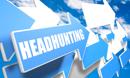 headhunting: Headhunting 3d render concept with blue and white arrows flying in a blue sky with clouds