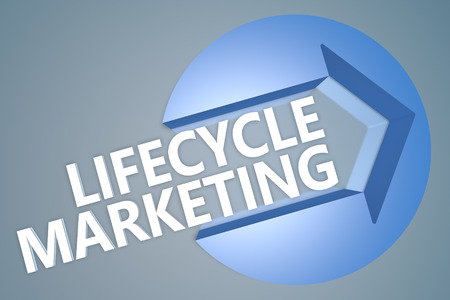 Lifecycle Marketing - 3d text render illustration concept with a arrow in a circle on blue-grey background illustration
