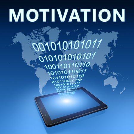 Motivation illustration with tablet computer on blue background illustration