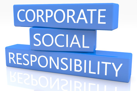 3d render blue box with text Corporate Social Responsibility on it on white background with reflection photo