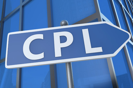 cpl: CPL - Cost per Lead - illustration with street sign in front of office building.