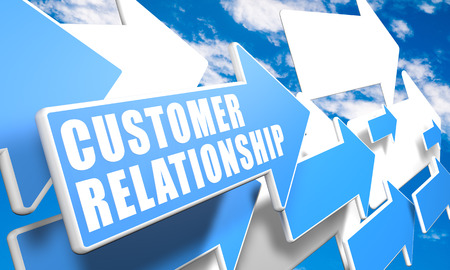 Customer Relationship 3d render concept with blue and white arrows flying in a blue sky with clouds photo