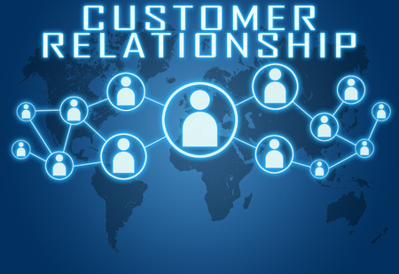 Customer Relationship concept on blue background with world map and social icons. photo