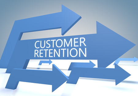 Customer Retention render concept with blue arrows on a bluegrey background. photo