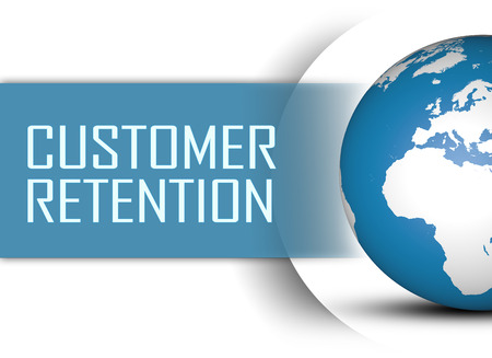 Customer Retention concept with globe on white background photo