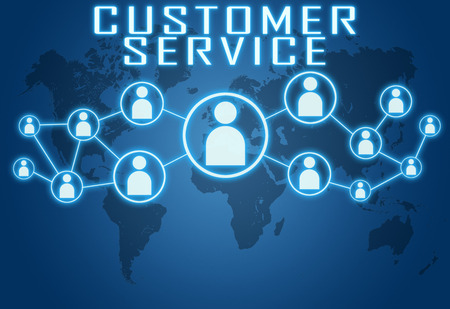 customer assistant: Customer Service concept on blue background with world map and social icons. Stock Photo