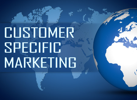 specific: Customer Specific Marketing concept with globe on blue background