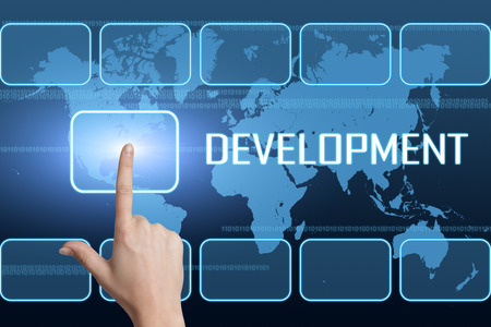 Development concept with interface and world map on blue background photo