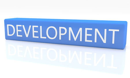 3d render blue box with text Development on it on white background with reflection photo