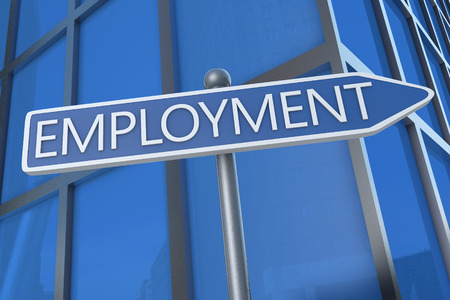 Employment - illustration with street sign in front of office building. illustration