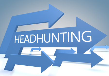 headhunting: Headhunting render concept with blue arrows on a bluegrey background.