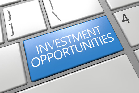 Investment Opportunities - keyboard 3d render illustration with word on blue key illustration