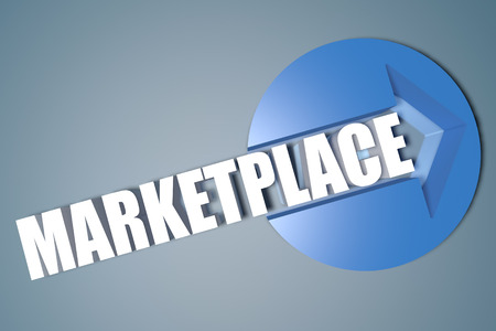 Marketplace - 3d text render illustration concept with a arrow in a circle on blue-grey background illustration