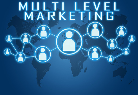 Multi Level Marketing concept on blue background with world map and social icons. Standard-Bild
