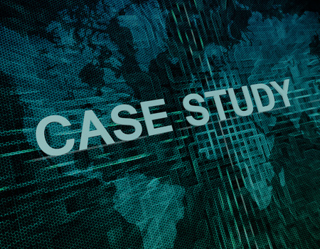 Case Study text concept on green digital world map background photo