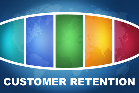 Customer Retention text illustration concept on blue background with colorful world map illustration
