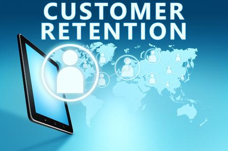 Customer Retention illustration with tablet computer on blue background illustration