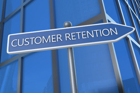 Customer Retention - illustration with street sign in front of office building. illustration
