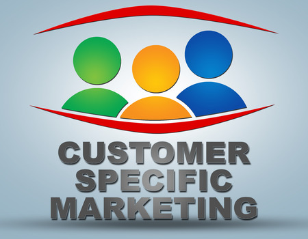 specific: Customer Specific Marketing text illustration concept on grey background with group of people icons