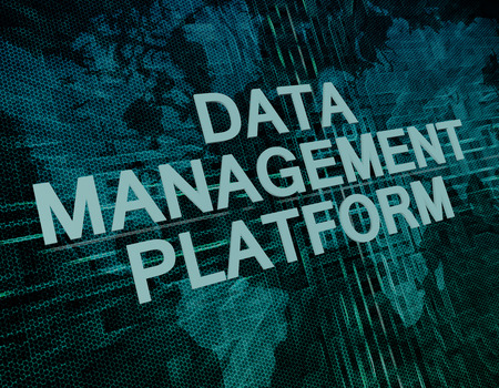 unify: Data Management Platform text concept on green digital world map background Stock Photo