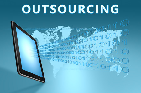 Outsourcing illustration with tablet computer on blue background illustration
