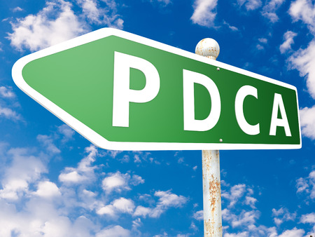 PDCA - Plan Do Check Act - street sign illustration in front of blue sky with clouds. illustration
