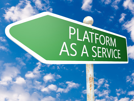 Platform as a Service - street sign illustration in front of blue sky with clouds. illustration