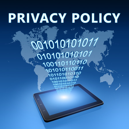 Privacy Policy illustration with tablet computer on blue background illustration