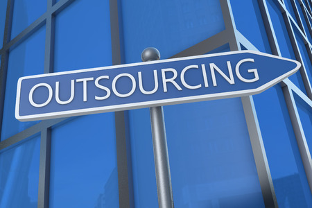 Outsourcing - illustration with street sign in front of office building.