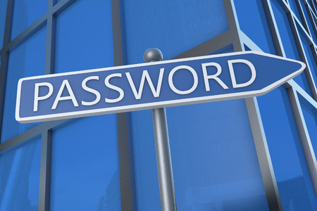 Password - illustration with street sign in front of office building. illustration